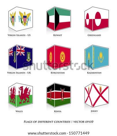 Flags of different countries isolated on white. Vector set.  - stock vector