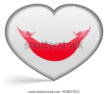 Flags of Easter Rapa Nui in a heart shape with highlights on the edges. Vector illustration - stock vector
