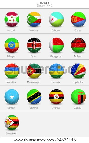 Flags Of Eastern Africa Countries 8 - stock vector
