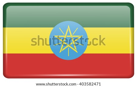 Flags of Ethiopia in the form of a magnet on refrigerator with reflections light. Vector illustration