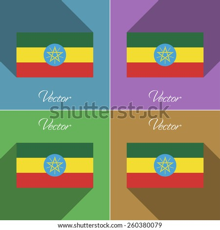 Flags of Ethiopia. Set of colors flat design and long shadows. Vector illustration - stock vector