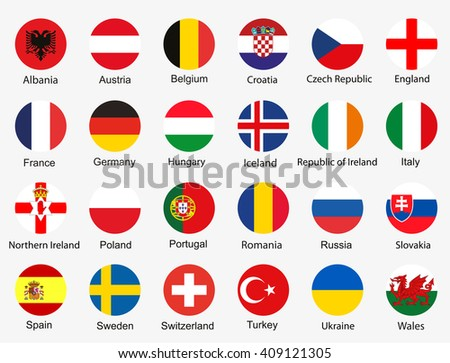Flags of Euro 2016 football championship - stock vector