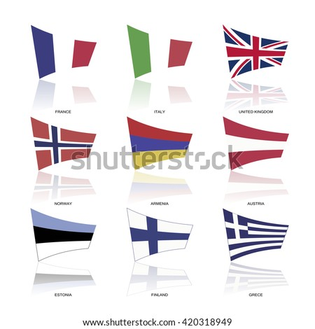 Flags of Europe, complete collection, part one - stock vector