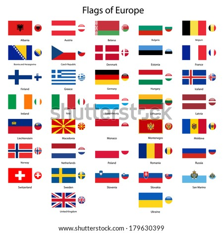 Flags of Europe vector set - stock vector