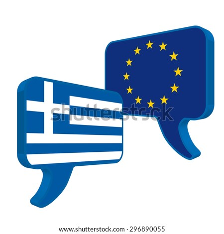 Flags of European Community and Greece as speech bubble on a white background. - stock vector