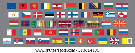 Flags of european countries - stock vector
