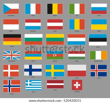 Flags of 29 european states (netherlands, italy, austria, russia, france, ...) on gray background.