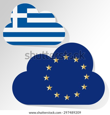 Flags of European Union and Greece as speech bubble on a white background. - stock vector