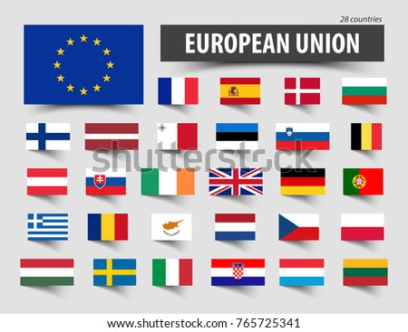 Flags of European Union and memberships .