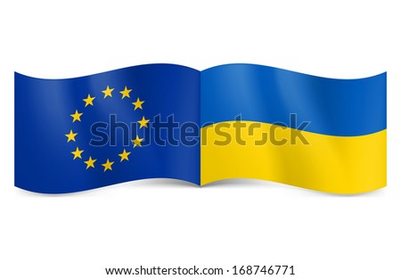 Flags of European Union and Ukraine together rendering union and cooperation. - stock vector