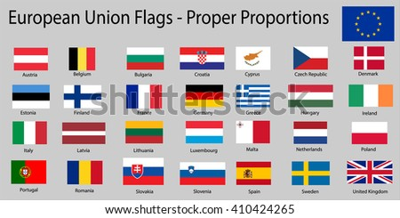 Flags of European Union EU member states with names - Proper Dimensions