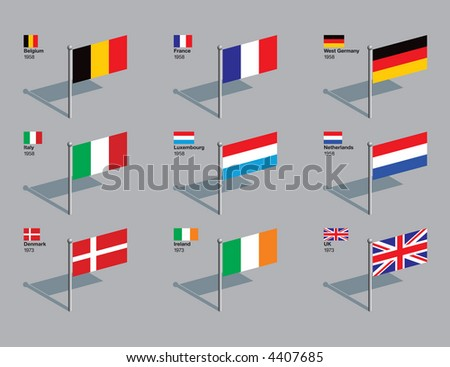 Flags of first 9 countries of the EU (Belgium, France, West Germany, Italy, Luxembourg, Netherlands, Denmark, Ireland, UK), with the year they joined. Drawn in CMYK and placed on individual layers. - stock vector