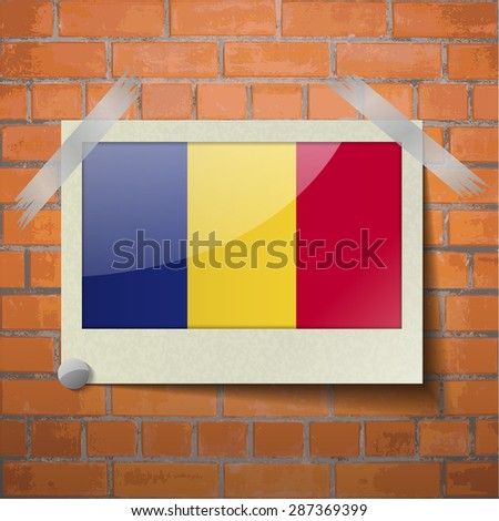 Flags of Romania scotch taped to a red brick wall. Vector - stock vector