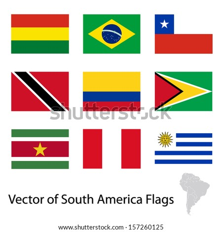 Flags of South America - stock vector