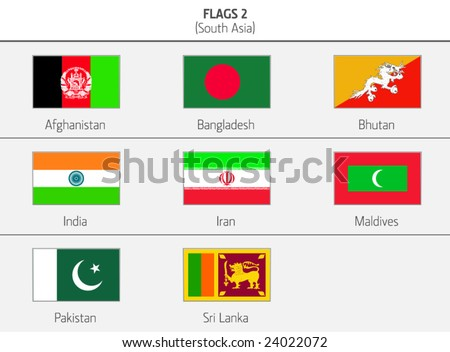 Flags of Southern Asia Countries 2 - stock vector
