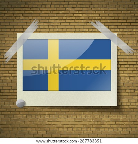 Flags of Sweden at frame on a brick background. Vector illustration - stock vector