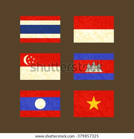 Flags of Thailand, Indonesia, Singapore, Cambodia, Laos and Vietnam. Flags with light grunge dirty effect.