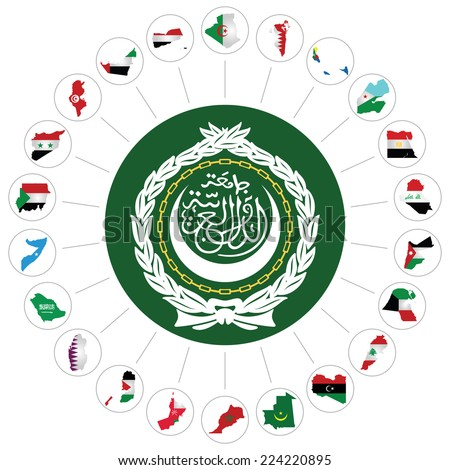 Flags of the Arab League member states overlaid on outline map and the Arab League emblem isolated on white background.  Syria included although currently suspended following the 2011 uprising - stock vector