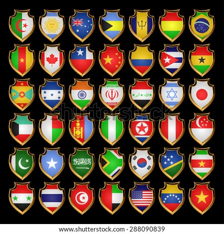 Flags of the countries of the North America, the South America, Asia and Africa. Flags in the form of badges. EPS-10. - stock vector