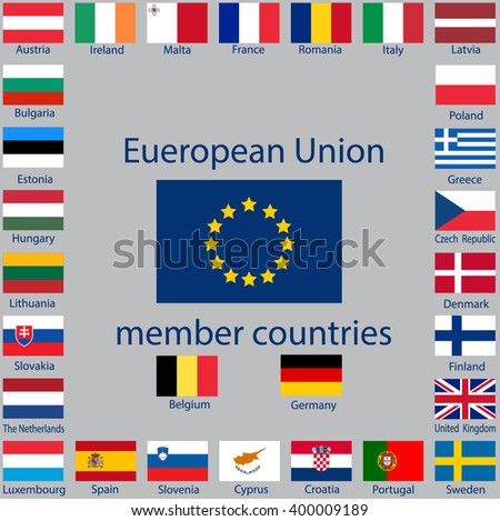 Flags of the 29 EU member countries in 2016