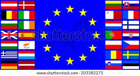 Flags of the European Union EU flag on a background with the outline maps - stock vector