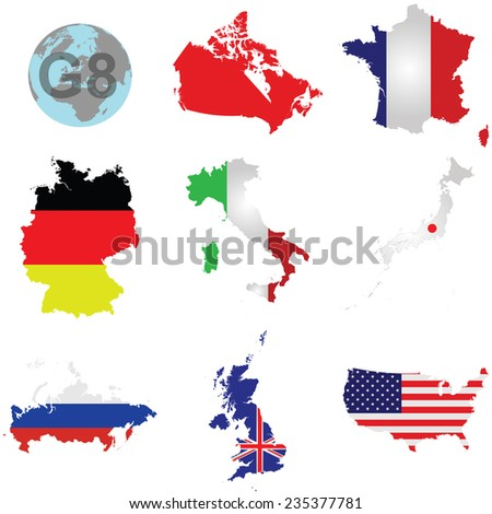 Flags of the G8 member countries overlaid on outline map isolated on white background Canada shown solid colour due to copyright restrictions - stock vector