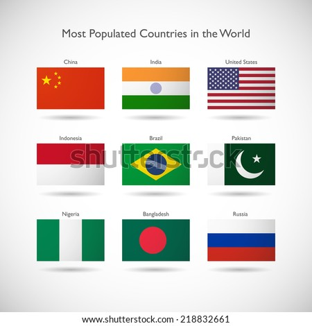 Flags of the most populated countries in the world isolates illustration - stock vector