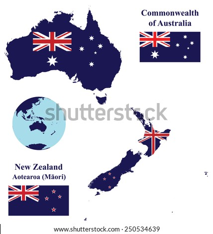 Flags of the Oceania countries of the Commonwealth of Australia and New Zealand overlaid on detailed maps isolated on white background  - stock vector
