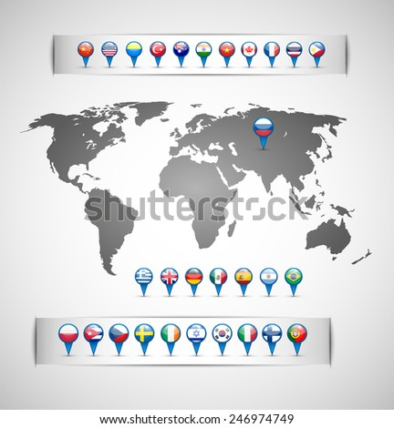 flags of the states. Map of the world. Blue pointer. Isolated objects. vector - stock vector