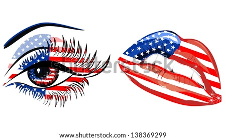 Flags of the USA in sensuality lips and beautiful female eye - stock vector