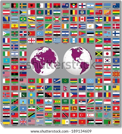 Flags of the world 2014  - stock vector