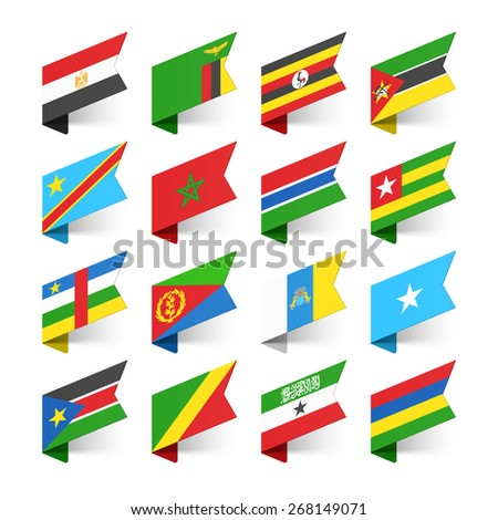 Flags of the World, Africa, set 1 vector illustration - stock vector