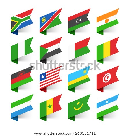 Flags of the World, Africa, set 2 vector illustration  - stock vector