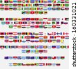 Flags of the world, all sovereign states recognized by UN, collection, listed alphabetically by continents, eps 10  - stock photo