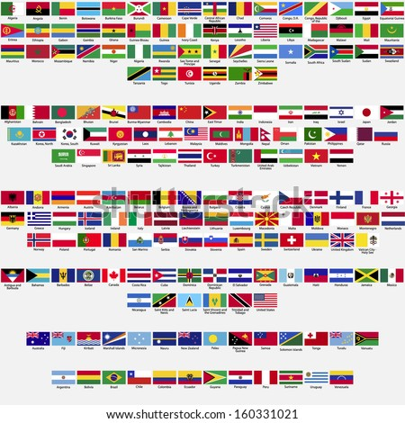 Flags of the world, all sovereign states recognized by UN, collection, listed alphabetically by continents, eps 10  - stock vector