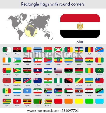 Flags of the world collection, round corner rectangles, Africa. Part 6/6 - stock vector