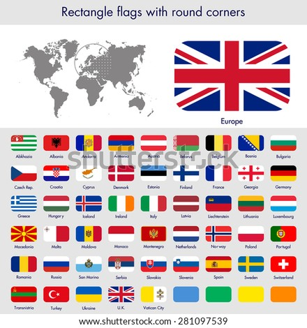 Flags of the world collection, round corner rectangles, Europe. Part 2/6 - stock vector