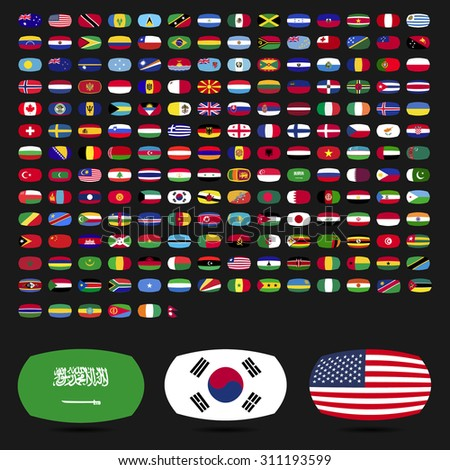 Flags of the world collection, round corner rectangles icons with detailed emblems and official colors on black background. vector illustration - stock vector