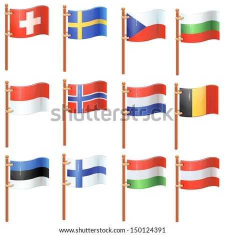 Flags of the world. Europe. Set 2/4 - stock vector