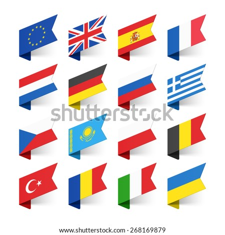 Flags of the World, Europe, set 1 vector illustration - stock vector