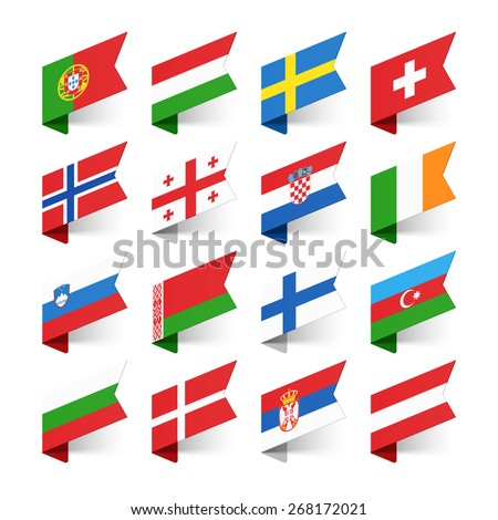 Flags of the World, Europe, set 2 vector illustration  - stock vector