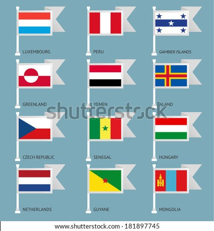 Flags of the world, flat vector illustration. Set number 04 - stock vector