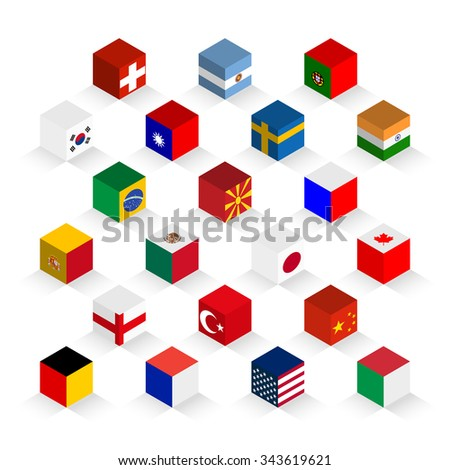 Flags of the world in a cubic shape composition, vector design - stock vector