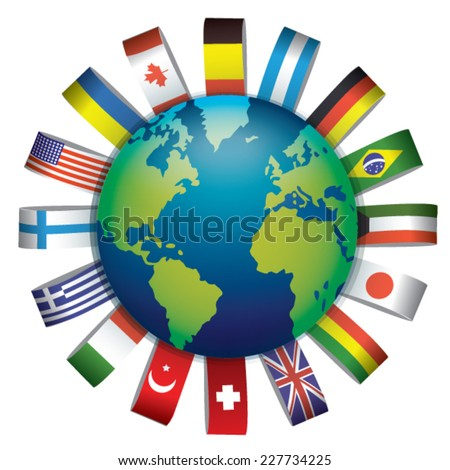 Flags of the world in globe.  - stock vector