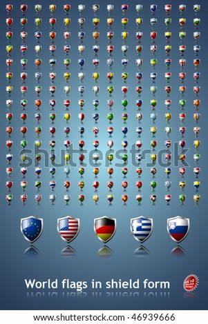 Flags of the world in shield form EPS 10 compatible - stock vector