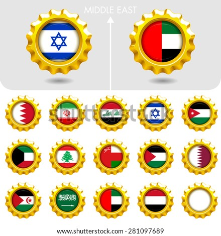 Flags of the world Jewellery collection, golden badges smooth corner shape, Middle East. Part 5/6 - stock vector