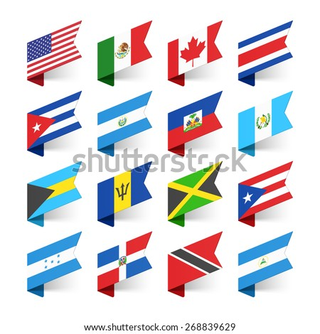 Flags of the World, North America, vector illustration - stock vector