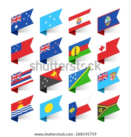 Flags of the World, Oceania, vector illustration - stock vector