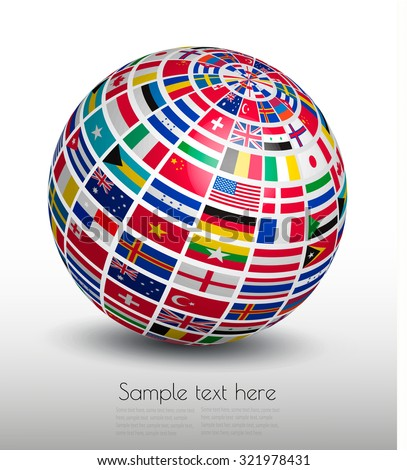 Flags of the world on a globe. Vector - stock vector