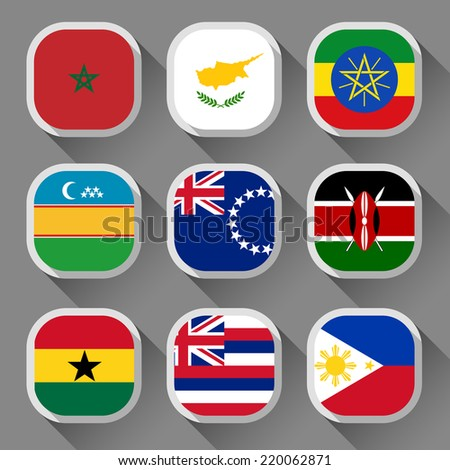 Flags of the world, rounded squares with shadow, set 24